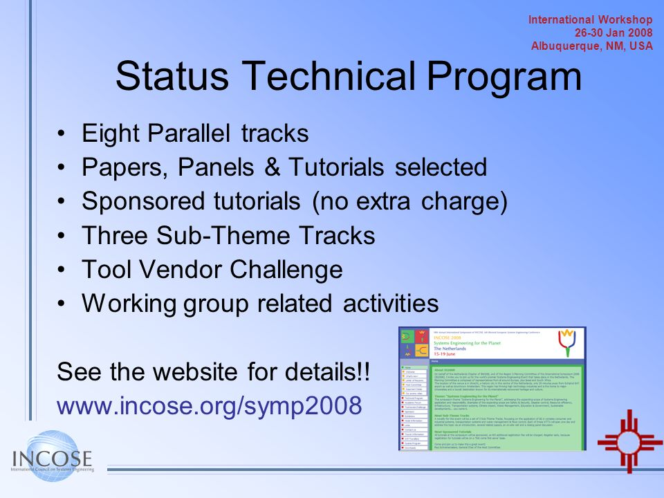 Status Technical Program