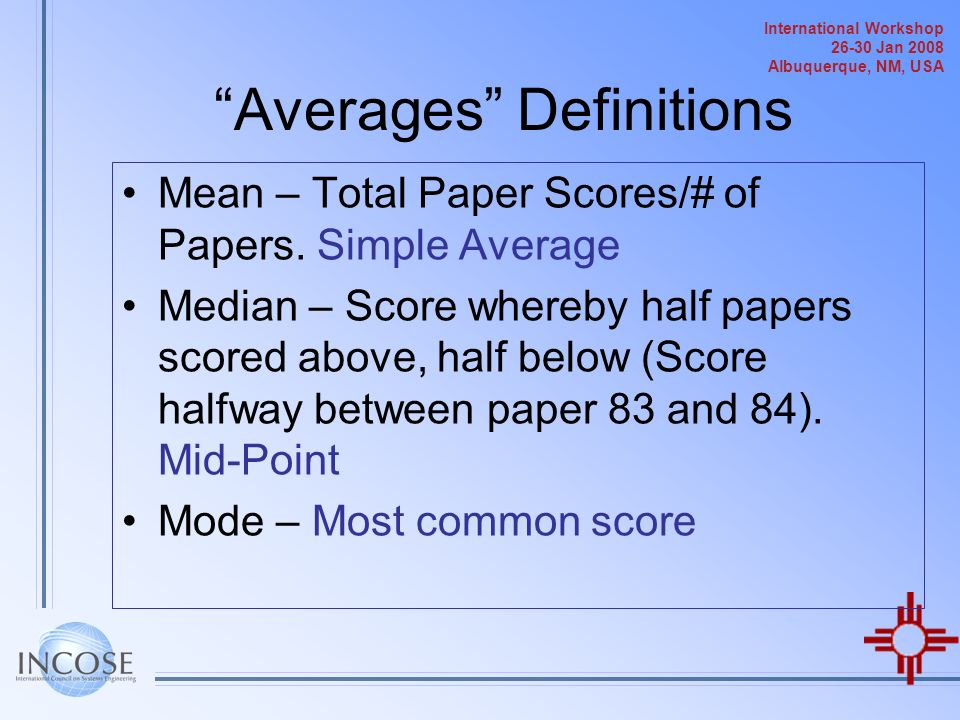 Averages Definitions