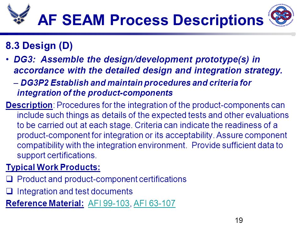 AF SEAM Process Descriptions