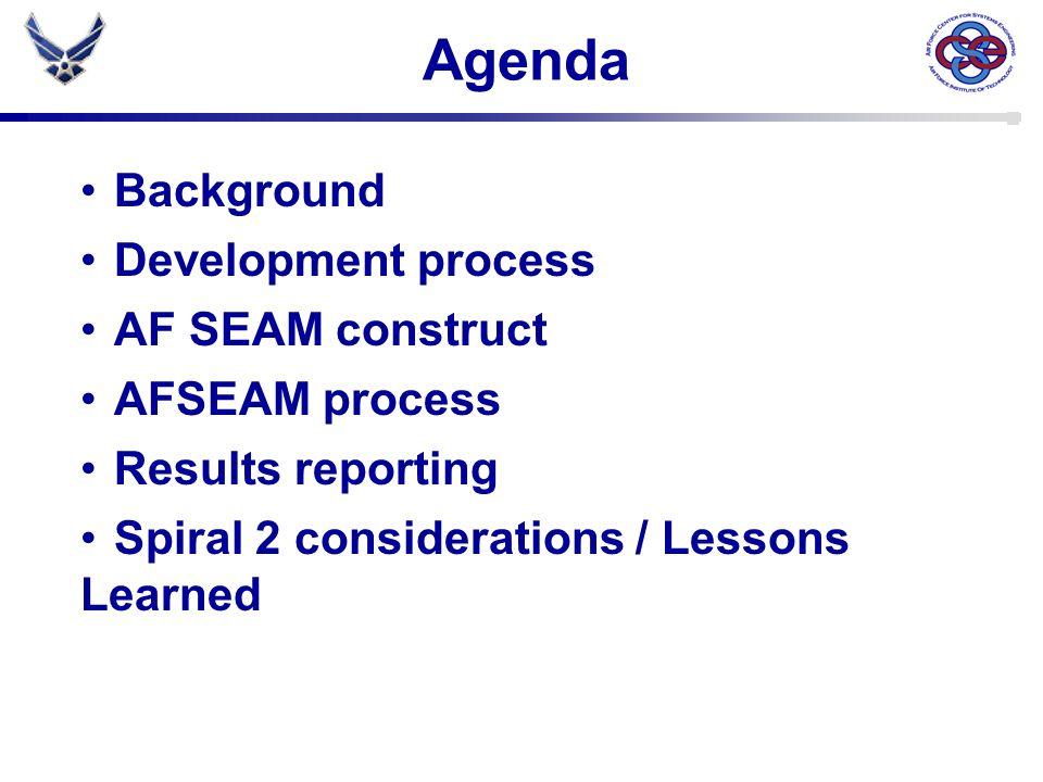 Agenda Background Development process AF SEAM construct AFSEAM process
