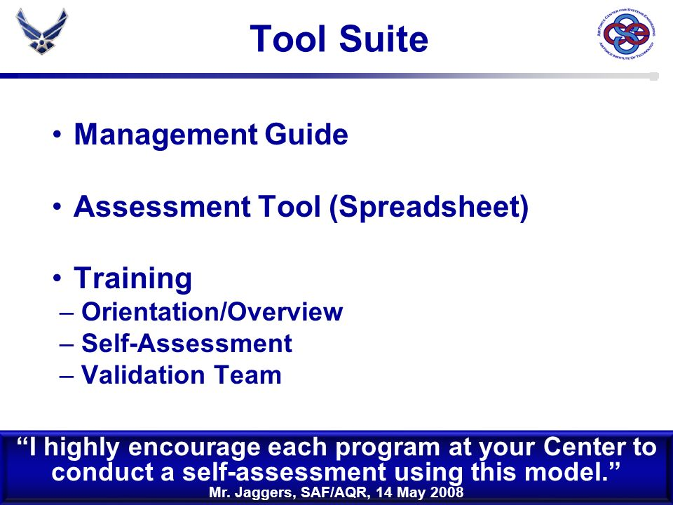 Tool Suite Management Guide Assessment Tool (Spreadsheet) Training
