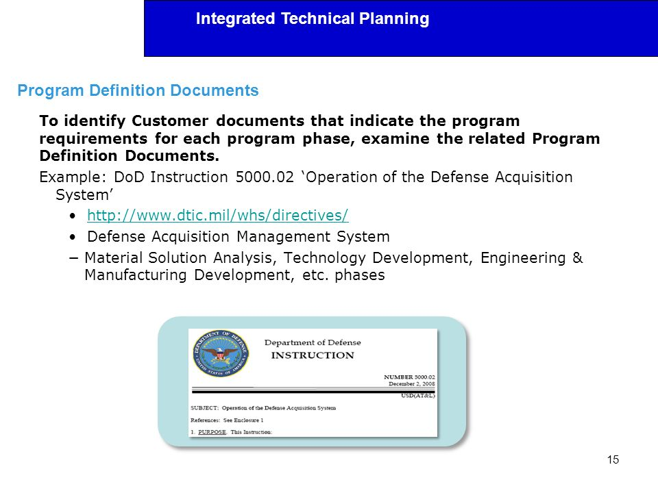 Program Definition Documents