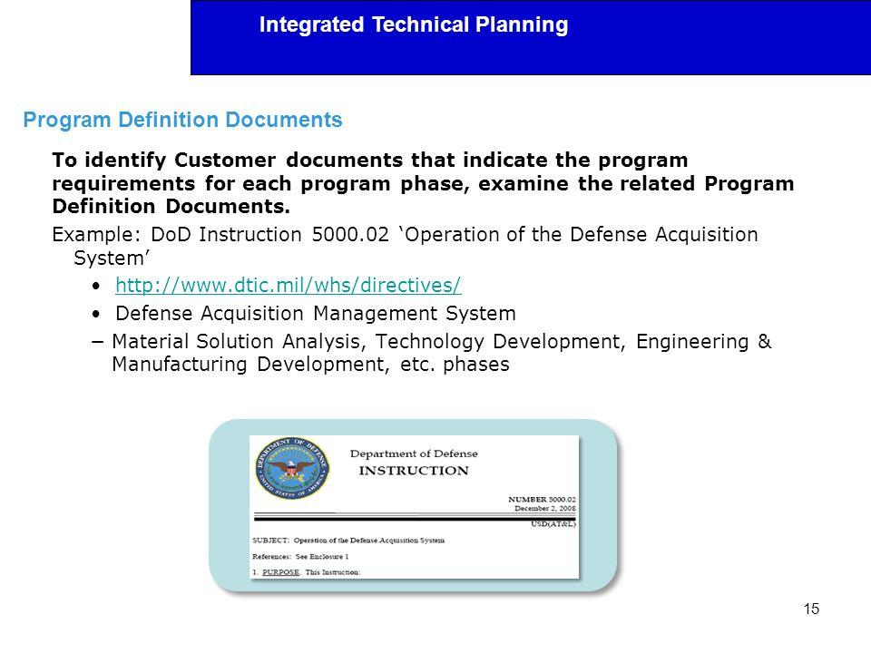 Program Definition Documents