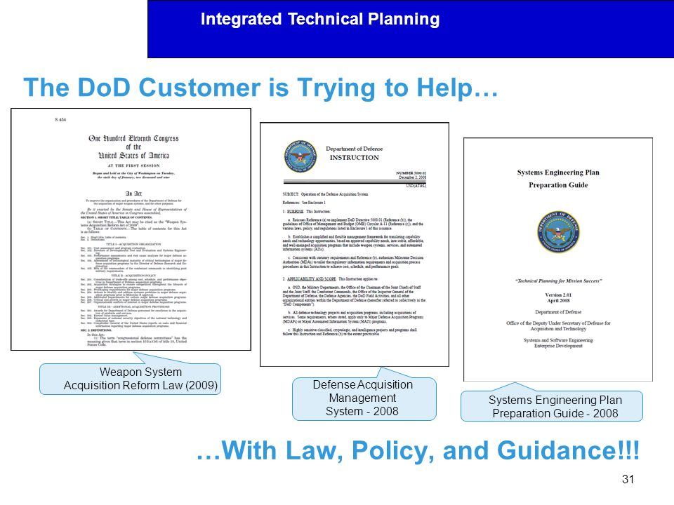 The DoD Customer is Trying to Help…