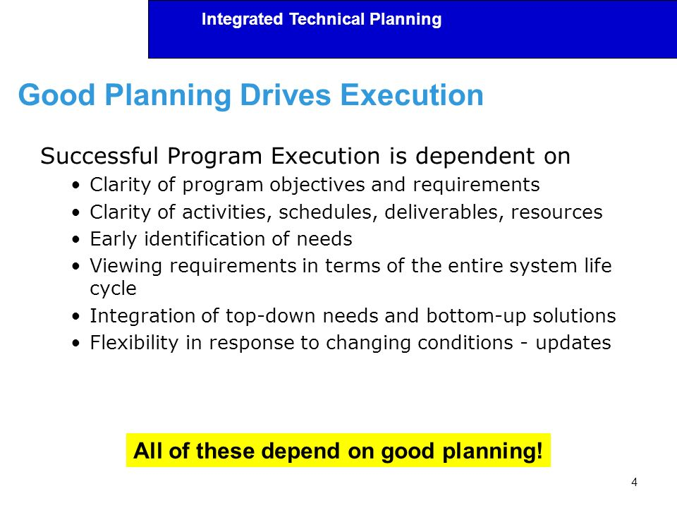 Good Planning Drives Execution