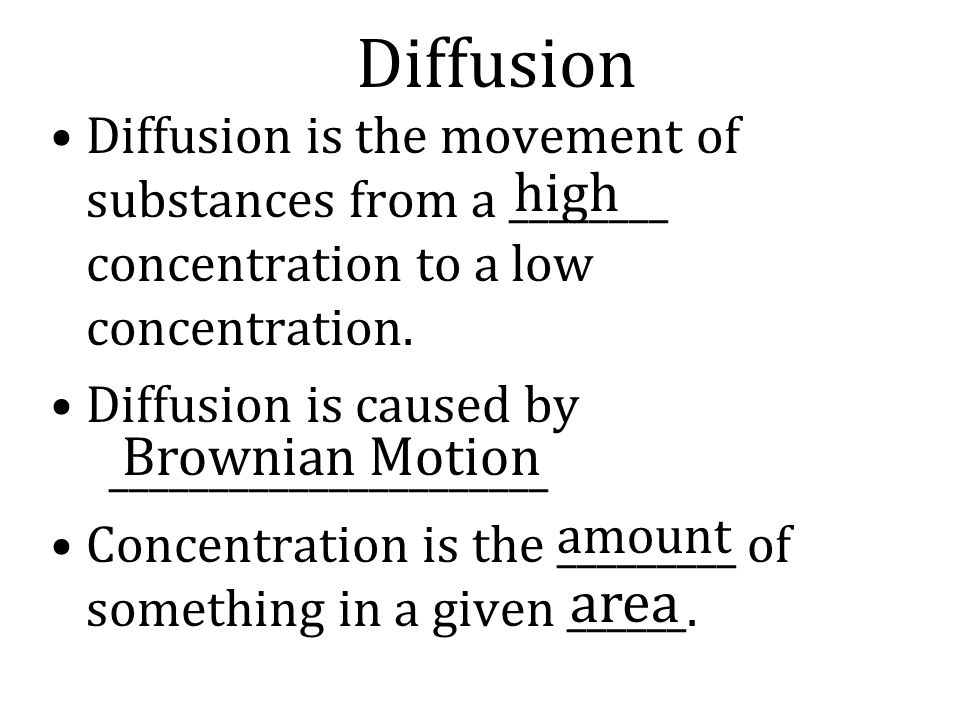 Diffusion area high Brownian Motion