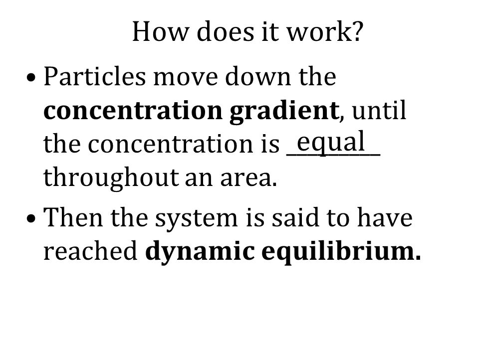 How does it work Particles move down the concentration gradient, until the concentration is _________ throughout an area.