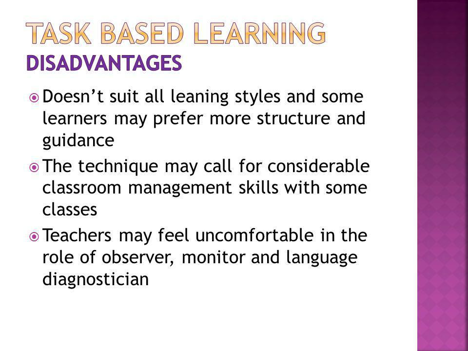 Task based learning disadvantages