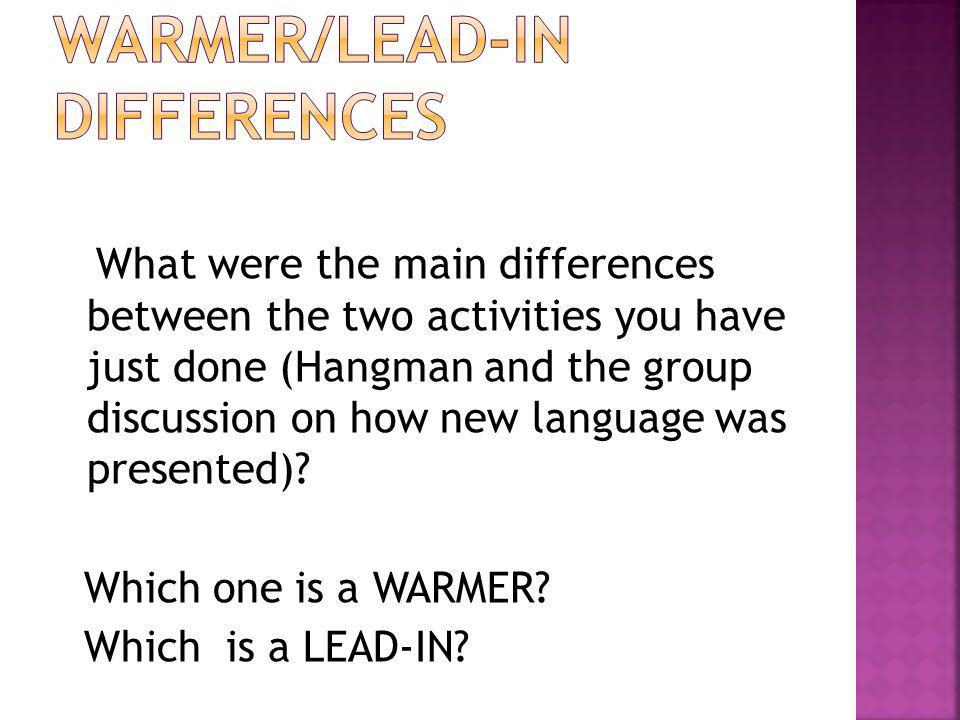 WARMER/LEAD-IN DIFFERENCES