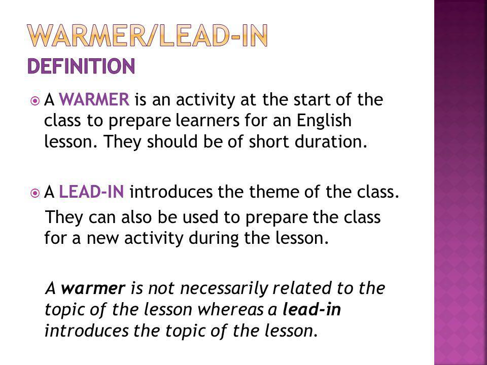 WARMER/LEAD-IN DEFINITION