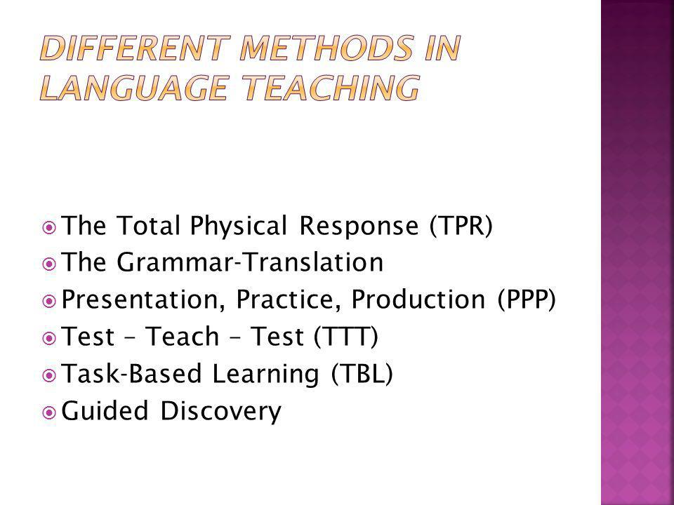 Different methods in language teaching