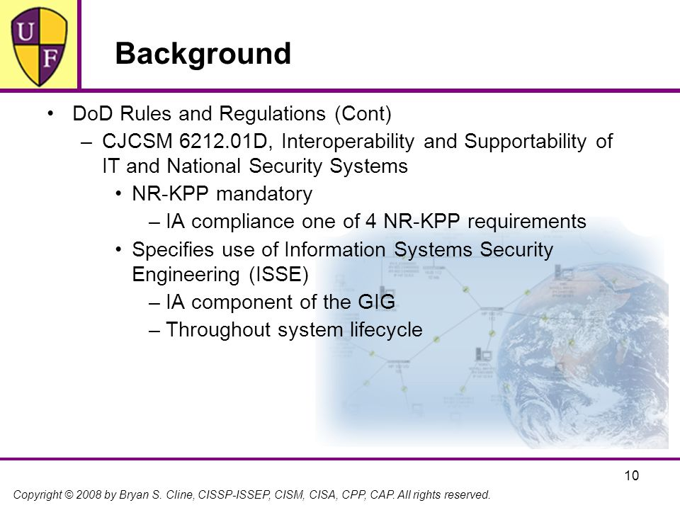 Background DoD Rules and Regulations (Cont)