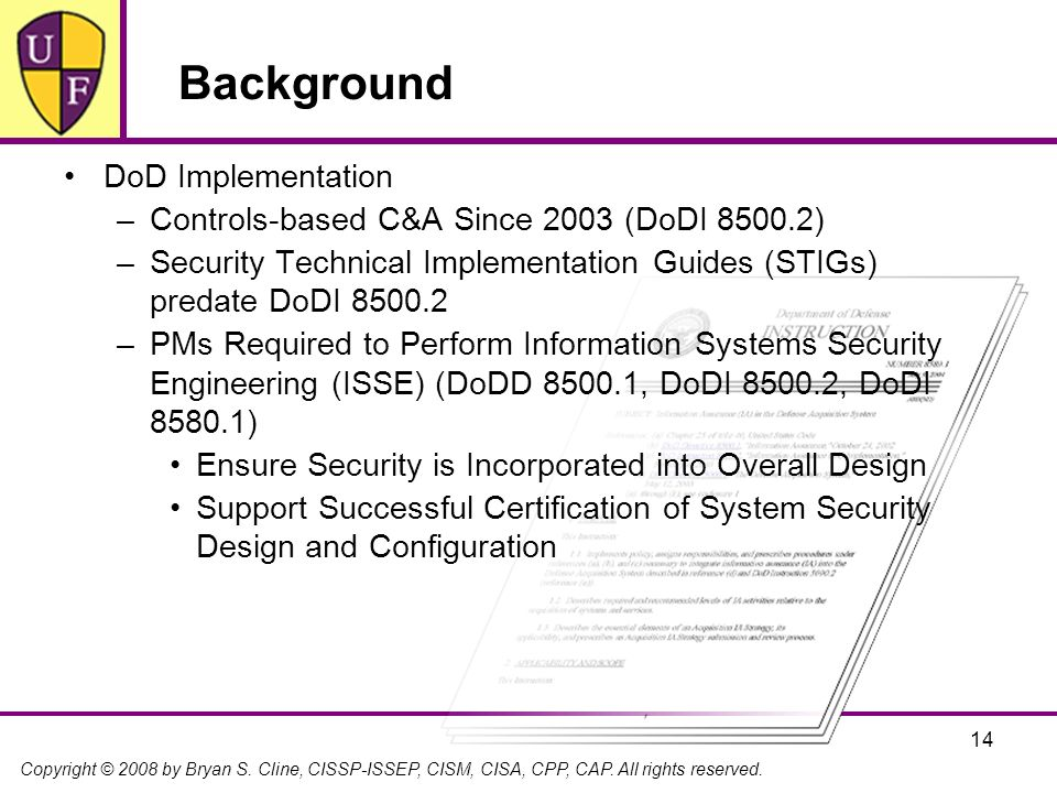Background DoD Implementation