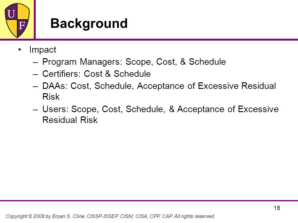 Background Impact Program Managers: Scope, Cost, & Schedule