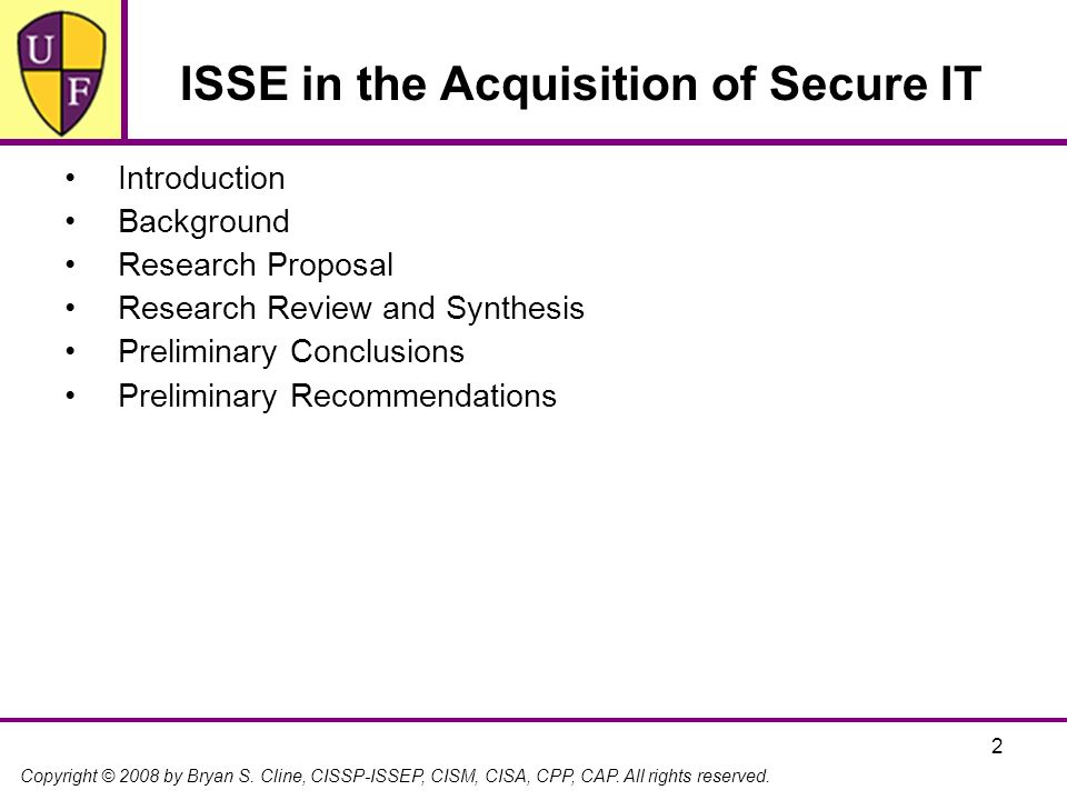 ISSE in the Acquisition of Secure IT