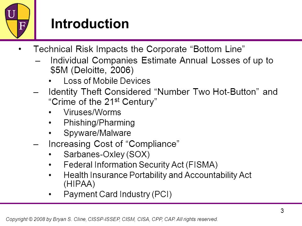 Introduction Technical Risk Impacts the Corporate Bottom Line