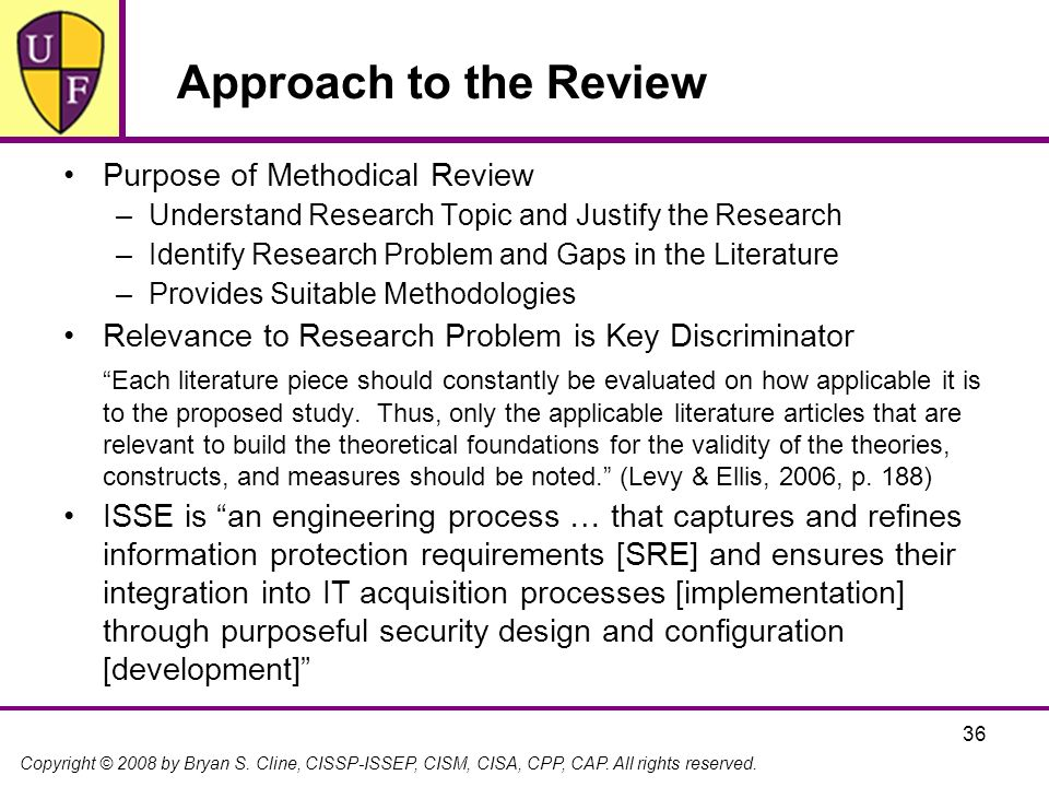 Approach to the Review Purpose of Methodical Review