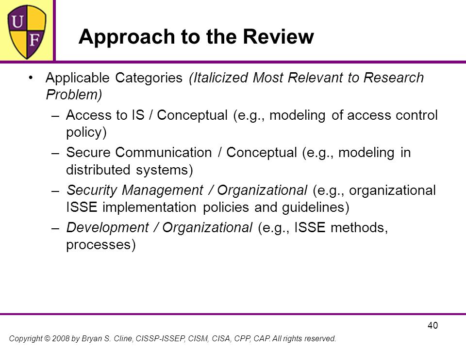 Approach to the Review Applicable Categories (Italicized Most Relevant to Research Problem)