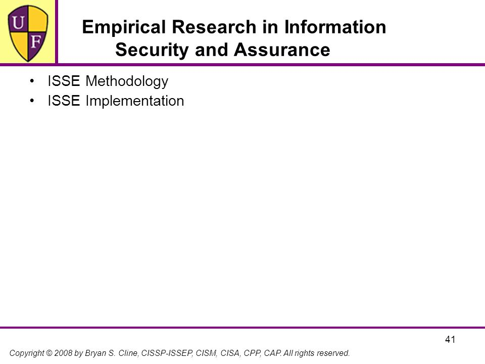 Empirical Research in Information Security and Assurance