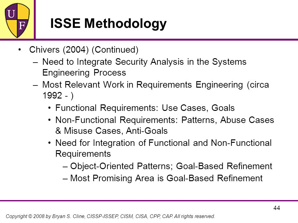 ISSE Methodology Chivers (2004) (Continued)