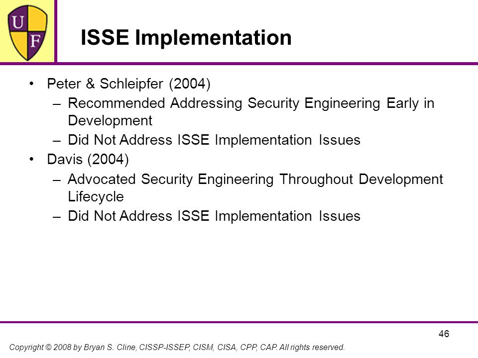 ISSE Implementation Peter & Schleipfer (2004)