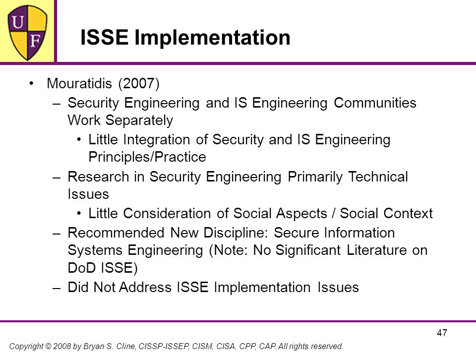 ISSE Implementation Mouratidis (2007)