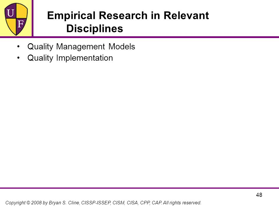 Empirical Research in Relevant Disciplines
