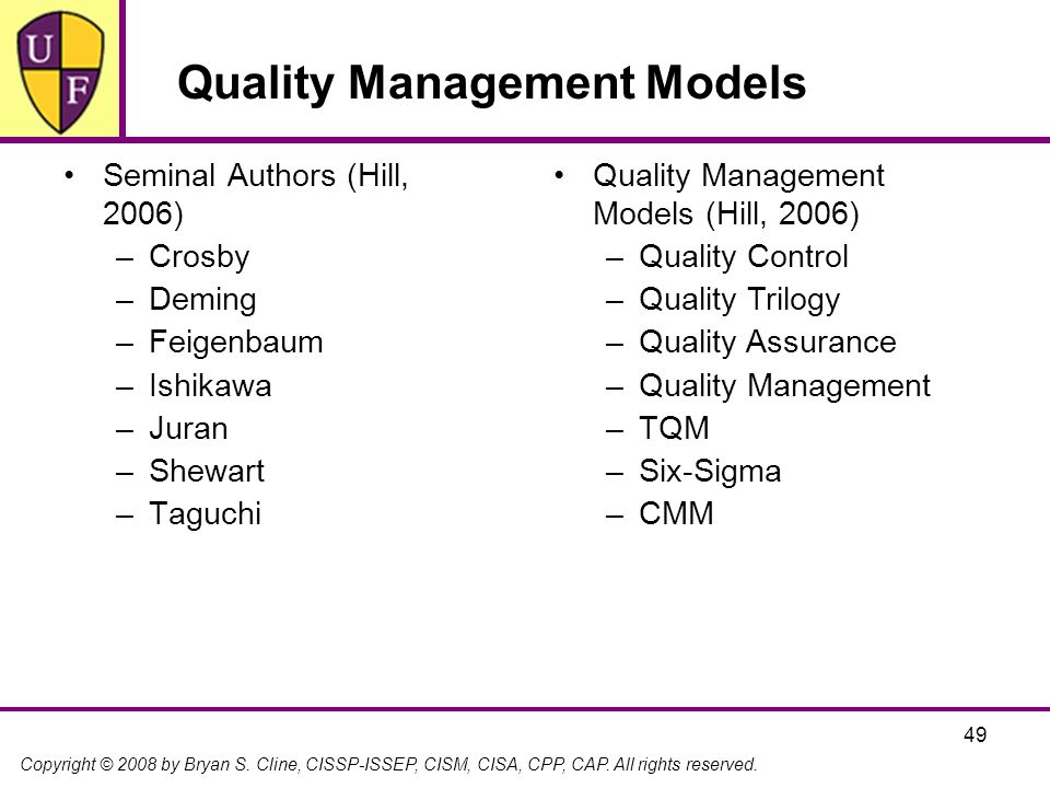 Quality Management Models