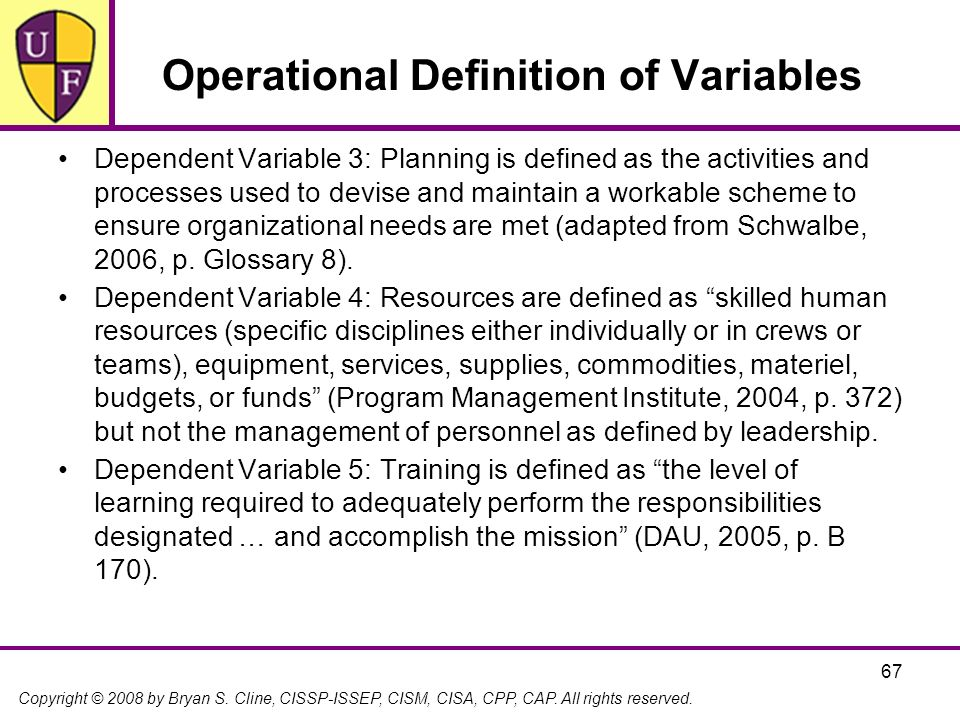 Operational Definition of Variables
