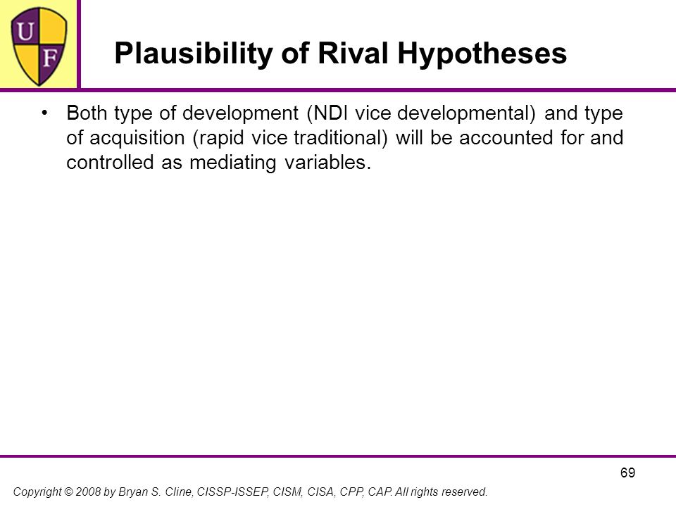 Plausibility of Rival Hypotheses