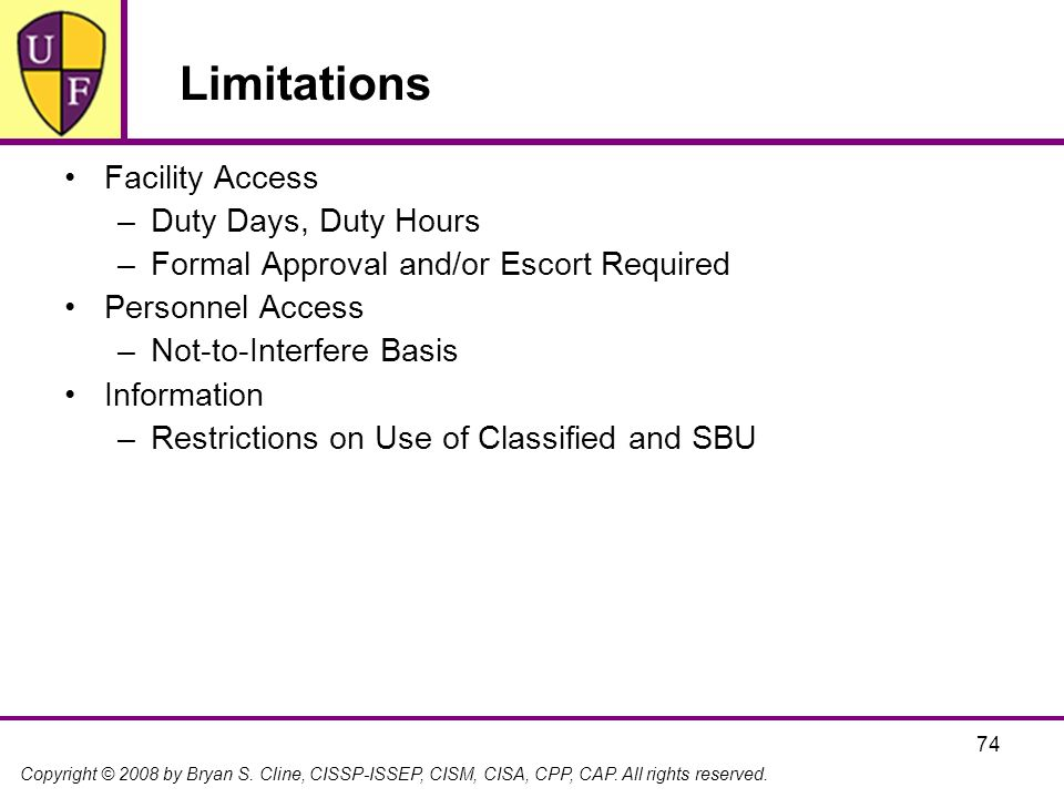 Limitations Facility Access Duty Days, Duty Hours