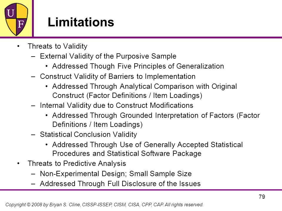Limitations Threats to Validity