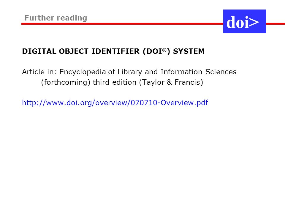 The DOI SystemThe DOI System