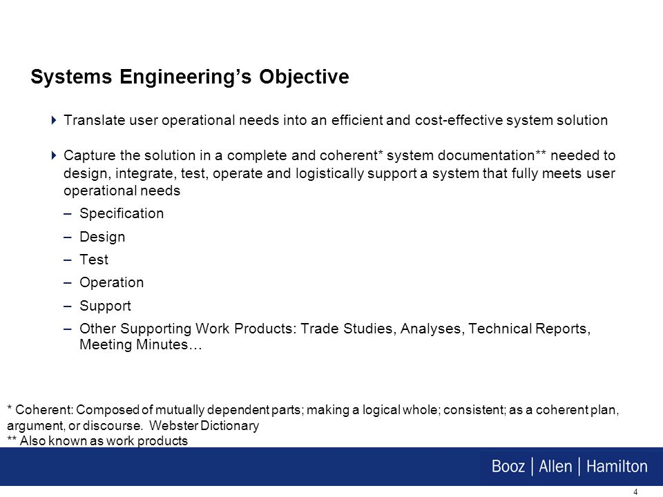 Systems Engineering's Objective
