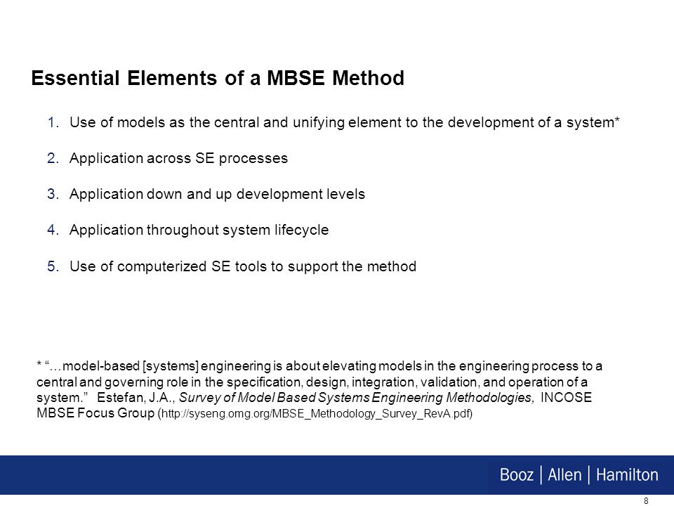 Essential Elements of a MBSE Method