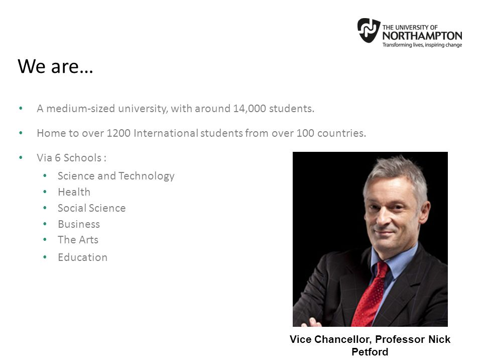Vice Chancellor, Professor Nick Petford