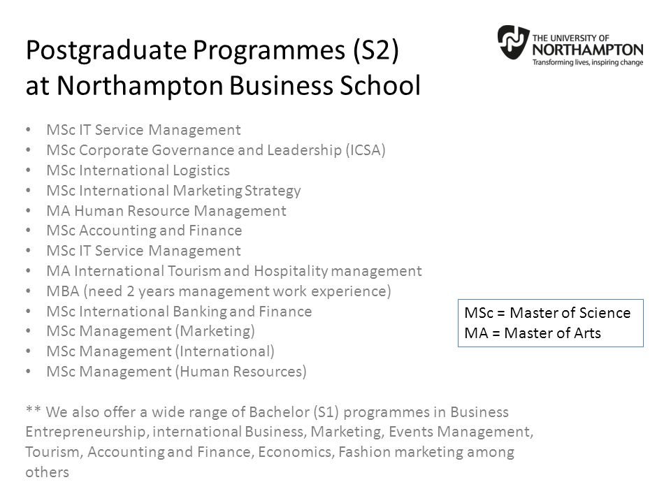 Postgraduate Programmes (S2) at Northampton Business School