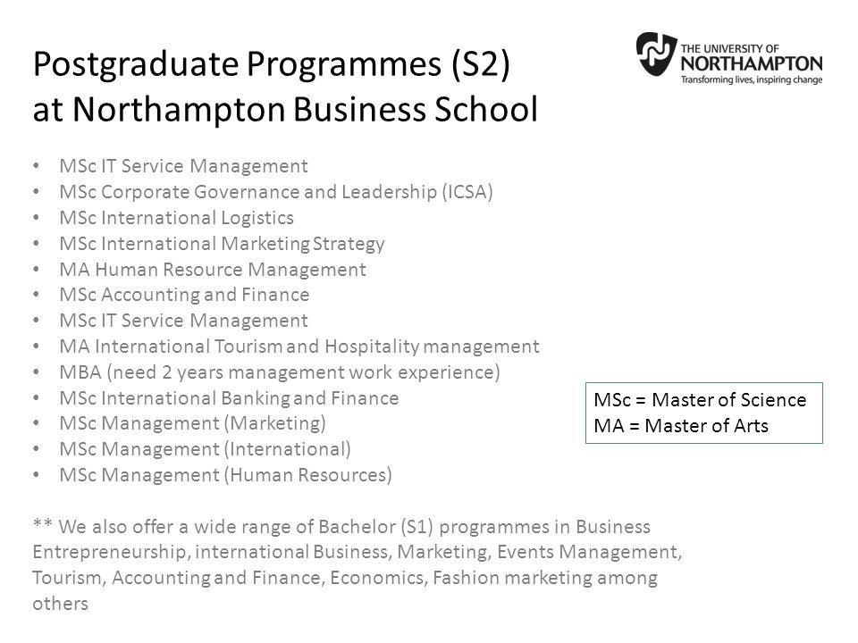 Postgraduate Programmes (S2) at Northampton Business School