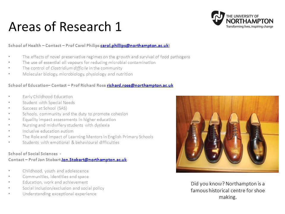 Areas of Research 1 School of Health – Contact – Prof Carol Philips carol.phillips@northampton.ac.uk)