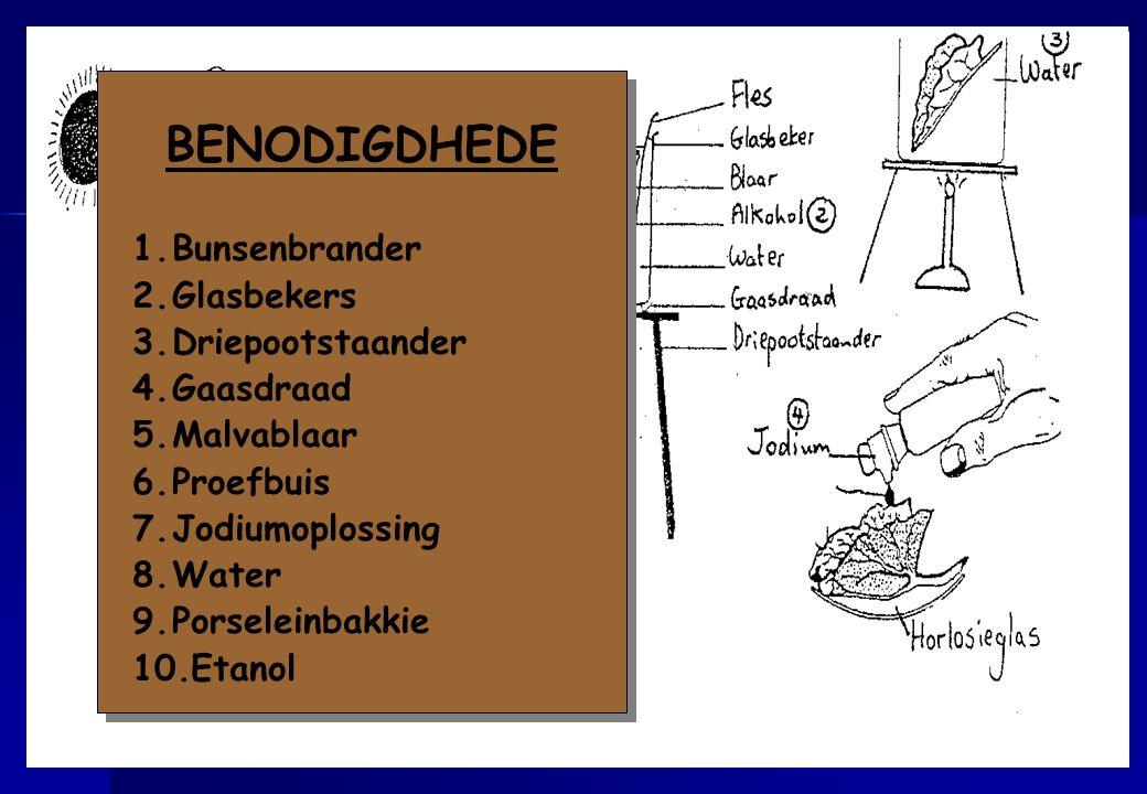 BENODIGDHEDE Bunsenbrander Glasbekers Driepootstaander Gaasdraad
