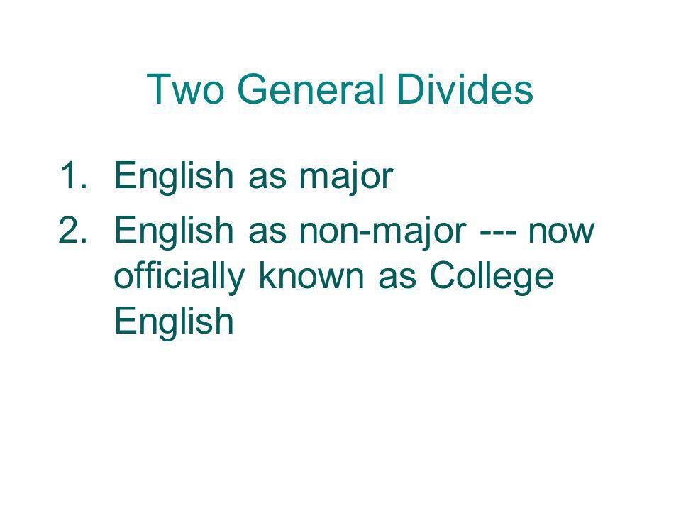 Two General Divides English as major