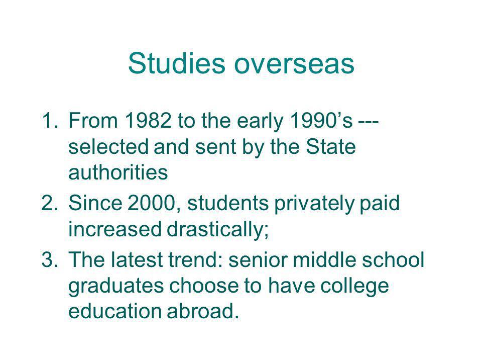 Studies overseas From 1982 to the early 1990's --- selected and sent by the State authorities.