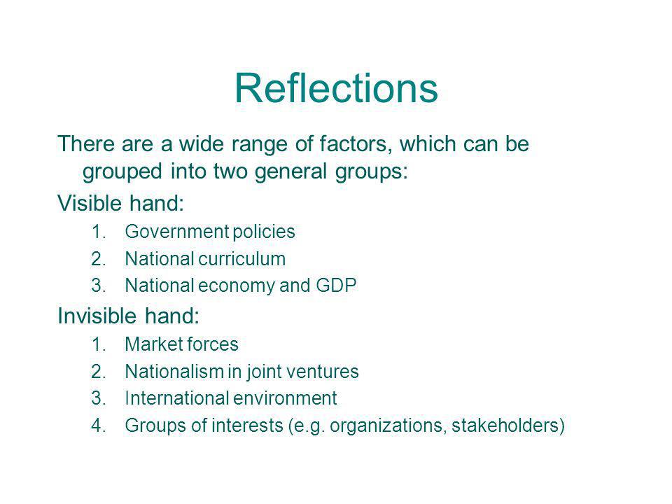 Reflections There are a wide range of factors, which can be grouped into two general groups: Visible hand: