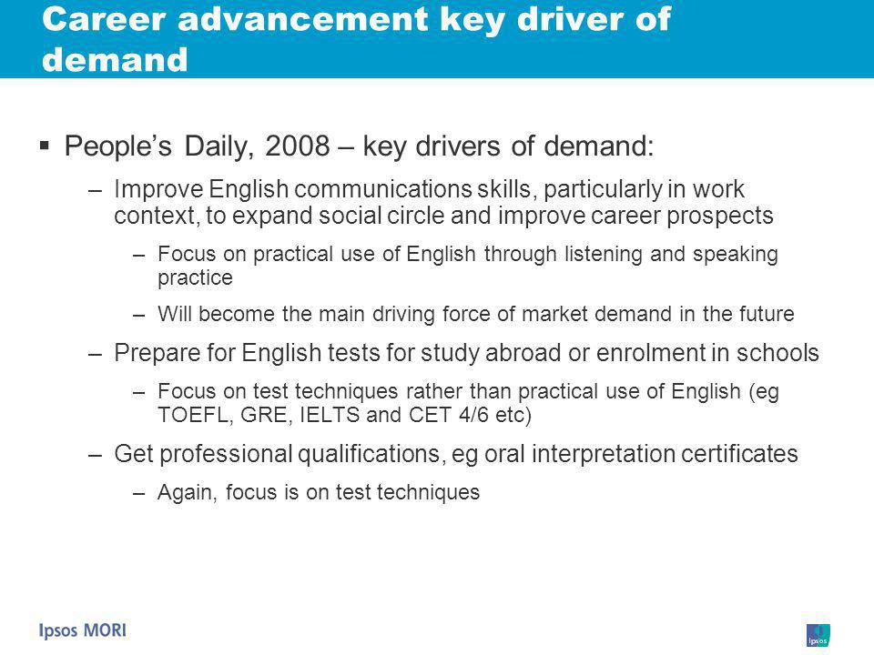 Career advancement key driver of demand
