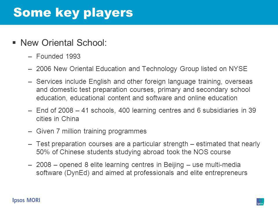 Some key players New Oriental School: Founded 1993