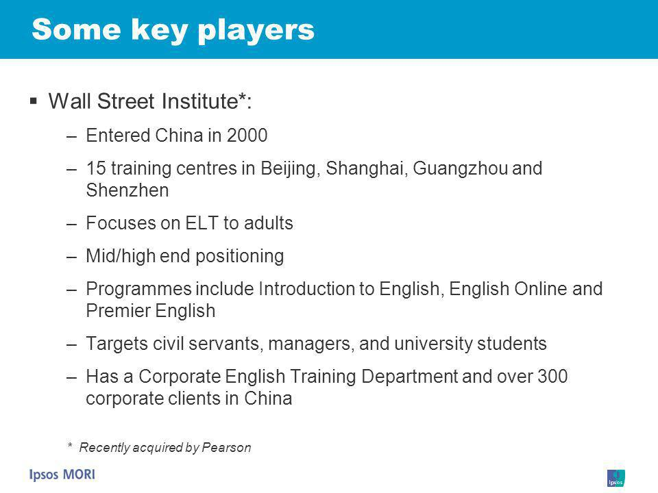 Some key players Wall Street Institute*: Entered China in 2000