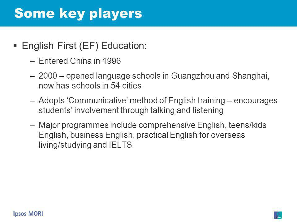 Some key players English First (EF) Education: Entered China in 1996