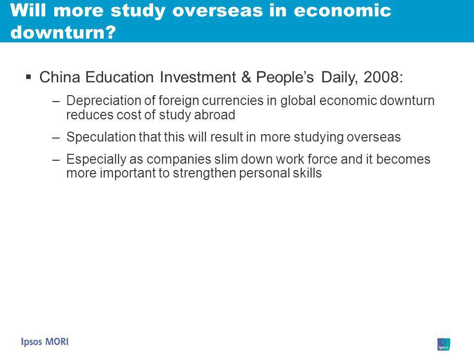 Will more study overseas in economic downturn