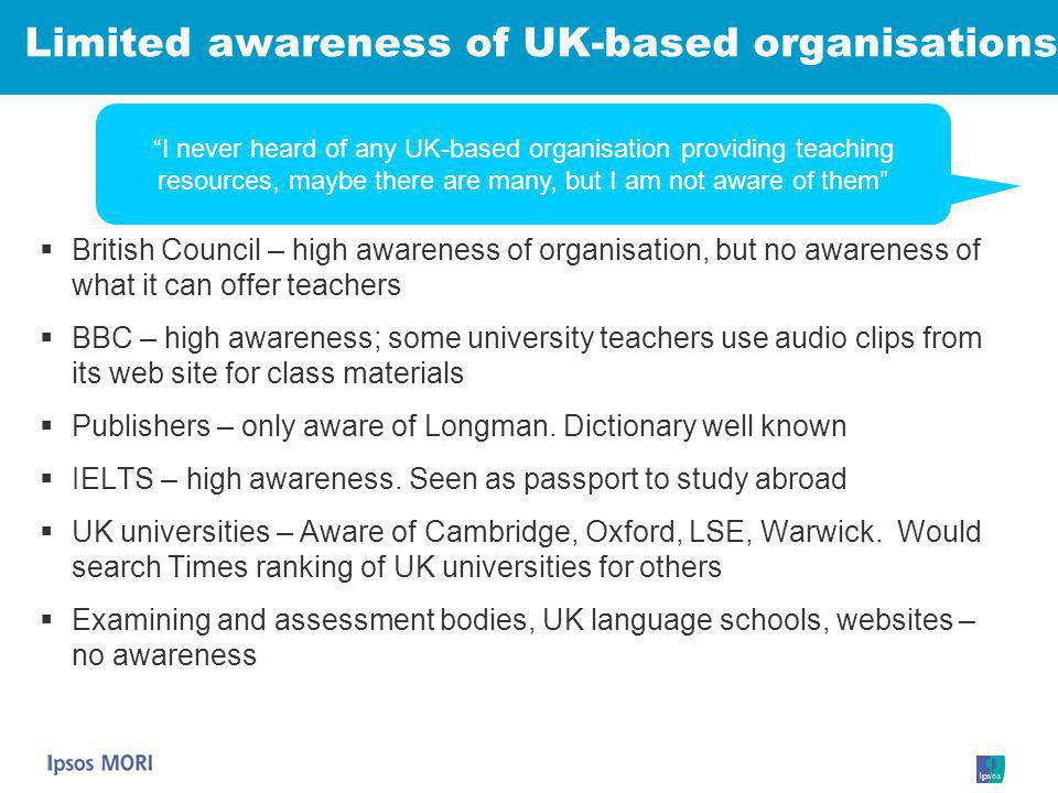 Limited awareness of UK-based organisations