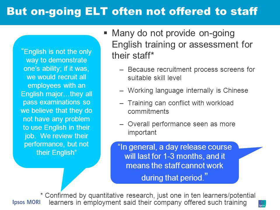 But on-going ELT often not offered to staff